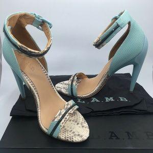 L.A.M.B. Jazmyn Heels in BLU/GRY